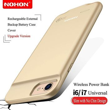 Ultra Slim NOHON External Battery Charger Case For iPhone 6 6S 7 Portable Backup Battery Case 2500mAh Wireless Power Bank Cover