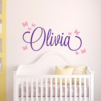 Butterfly Name Wall Sticker Personalized Custom Name Wall Decal Girls Bedroom Decor Nursery Home Decor adesivo de parede A570