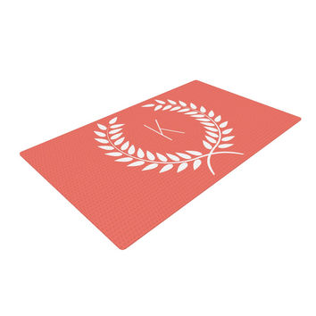 "KESS Original ""Coral Wreath Monogram"" Woven Area Rug"