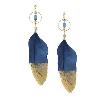 Blue and Gold Feather Drop Earrings