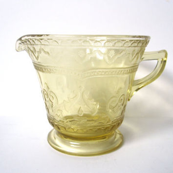 Yellow Depression Glass Creamer with Fancy by CarpeDiemTreasures