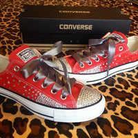 Full Rhinestone Converse with Ombré Sides and Ribbon Shoelaces