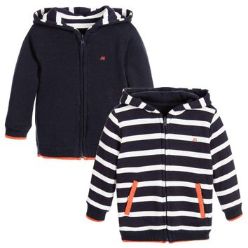 Junior Gaultier Baby Boys Reversible Navy Blue Hoodie