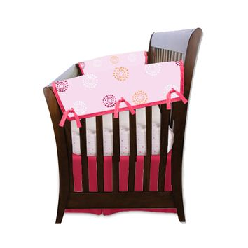 Blossoms & Dots Pink Organic Crib Rail Cover (Side Rails)