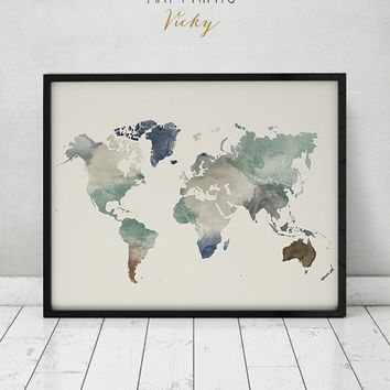 World map print, watercolor travel Map, Large world map, world map watercolor, Fine Art prints, watercolor print, home decor ArtPrintsVicky