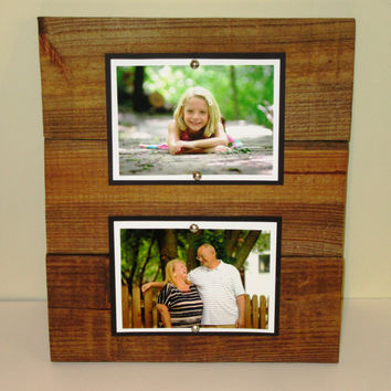Double Wood Picture Frame, 5X7 Picture frame, Rustic Picture Frame, Double 5X7 Wood Frame, Rustic Wall Decor, Rustic Wood Frame