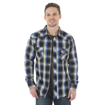 Wrangler Men's Western Jean L/S Navy/Yellow/Blue Plaid Snap Shirt