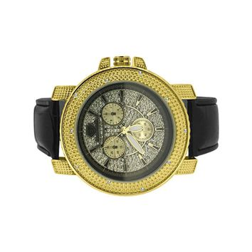 Super Techno Gold Classic Style Diamond Leather Watch