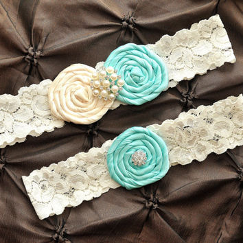 Wedding Garter Belt, Bridal Garter Set, Tiffany Blue Garter - Ivory Lace Garter, Keepsake Garter, Toss Garter Rolled Silk Rosette Ivory Aqua