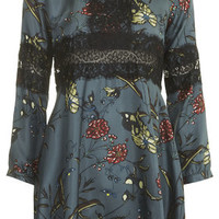 Fable Print Silk Lace Dress by Boutique - Khaki