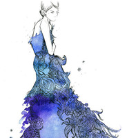 Watercolor Fashion Illustration Starstruck by JessicaIllustration