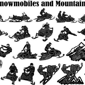 Snowmobile Rider Jumping and Mountains
