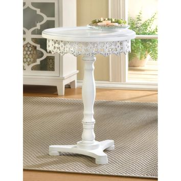 Accent Table-White Victorian Distressed Pedestal