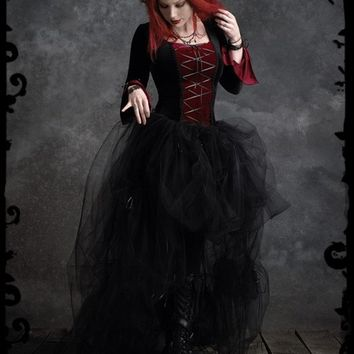 Camellia Bustle Gown in Velvet and Tulle - Custom Elegant Gothic Clothing and Dark Romantic Couture