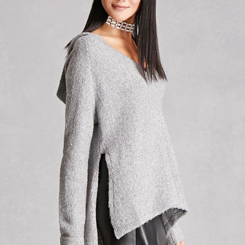 Woven Heart Hooded Sweater
