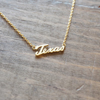tiny gold plated mod chic modern texas dainty necklace ; southern great as a gift