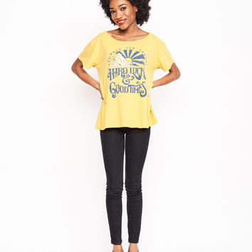 Hard Luck and Good Times Boyfriend Tee - Mustard