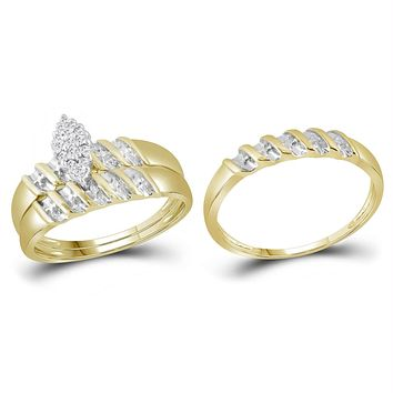 10k Gold Diamond Marquise Cluster Wedding Trio His & Hers Ring Set