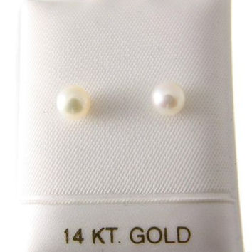 5.75MM GENUINE CULTURED ROUND PEARL STUD POST EARRINGS SOLID 14K YELLOW GOLD