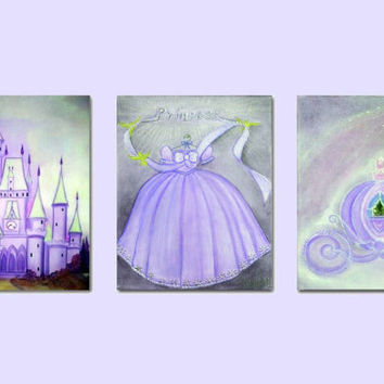 Princess Wall Art, Purple, Nursery Decor, Nursery Prints, Princess Wall Art, Cinderella Art, Nursery decor, Girls room art, Princess Decor
