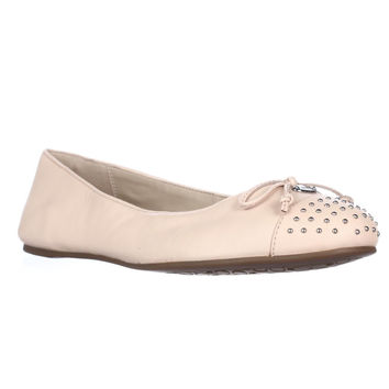 Coach Doreen Studded Toe Cap Bow Ballet Flats - Peach Bisque