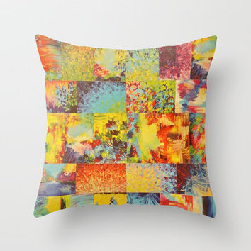 COLORFUL INDECISION 2 - Vibrant Wow Beautiful Abstract Acrylic Painting Collection Nature Rainbow Throw Pillow by EbiEmporium | Society6