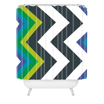 Karen Harris Modernity Galaxy Cool Chevron Shower Curtain