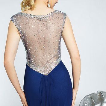 Jovani JVN20375 Jewel Neckline Cap Sleeves Embellished Illusion Back