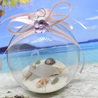 Etched Flamingo Ornament With Seashells And Sea glass Beach Ornament