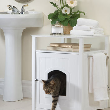 Multifunctional Home Decor Hidden Litter Box Pet Cat Washroom With Night Stand White