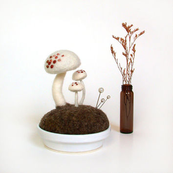 White Mushrooms Pink Spots Nature Scene by FoxtailCreek on Etsy