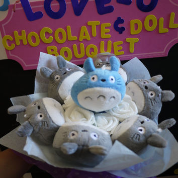 Totoro Doll Flower Bouquet - Japanese cartoons. Perfect Gift!