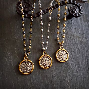 Beaded Rosary Chain Antique Silver Gold Coin Medal Necklace