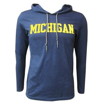 Michigan Hooded LS - Navy/Dark Grey
