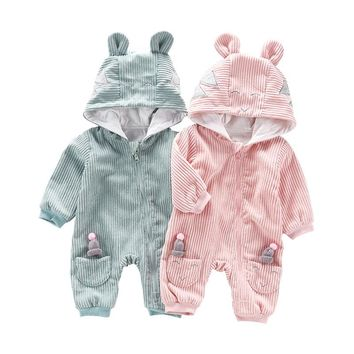 Baby Rompers Jumpsuits Baby Girls Clothing Children Autumn Newborn Baby Clothes Cotton Long Sleeve Infantil Clothes With Hooded