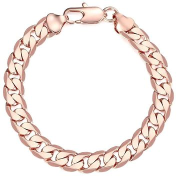 10mm Men Boy Chain Round Curb Cuban Link Rose Gold Filled Bracelet 8-11inch GIFT