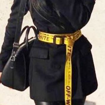 OFF WHITE Classic Fashion Women Men Black Word Canvas Belt Yellow