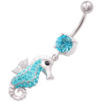 Aquamarine Crystal Seahorse Dangle Belly Button Ring [Gauge: 14G - 1.6mm / Length: 10mm] 316L Surgical Steel & Crystal