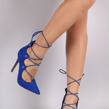 Shoe Republic LA Suede Lace-Up Stiletto Pump
