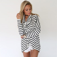 Stripes Long Sleeve Draped Neckline Loose Top