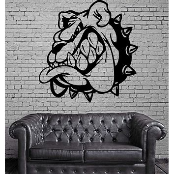 Cartoon Angry Bulldog Kids Room Animal Decor Wall Mural Vinyl Art Sticker Unique Gift M369
