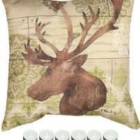 "Manual Woodworkers Woodland Ikat 2 Climaweave Indoor/Outdoor 18x18"" Pillow with 6-Pack of Tea Candles"