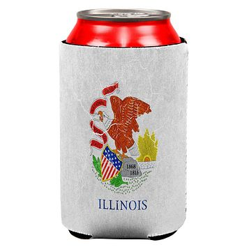 Illinois Vintage Distressed State Flag All Over Can Cooler