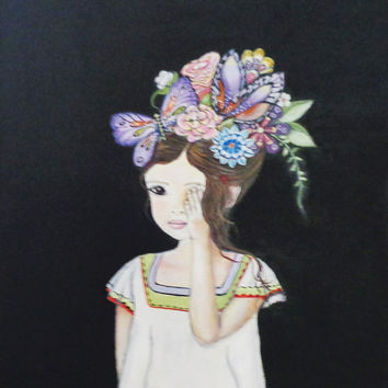 Beautiful Flower Child Mixed Media Painting. Brown Hair Black Background Wall Art. Original Artwork on Canvas.