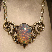Victorian Style Fire Opal Necklace in Antique Silver (1774)