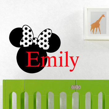 Name Wall Decal Initial Personalized Custom Baby Name Decals Vinyl Design Head Minnie Mouse Ears Nursery Bedding Kids Wall Art  Decor M046