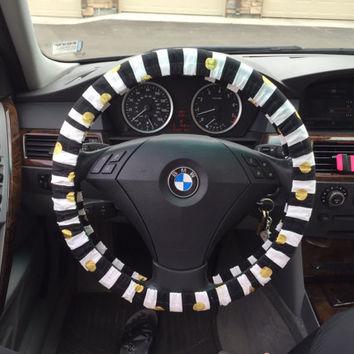 Custom Black and White Strips with Big Gold Dots Steering Wheel Cover
