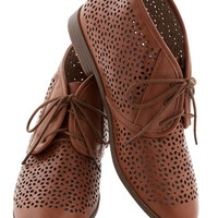 Restricted Menswear Inspired Frolic to the Fun Bootie in Brown