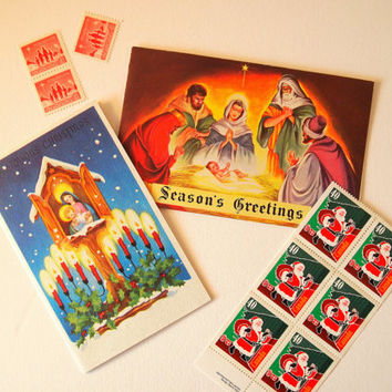 Vintage unused Christmas cards, religious, set of 2, nativity scenes