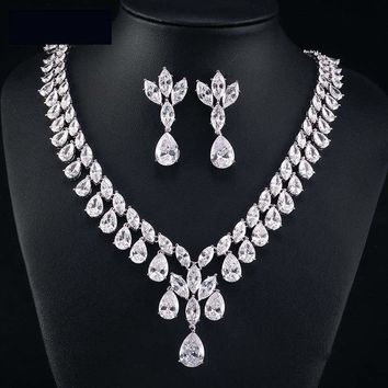 Cubic Zirconia Earrings And Necklace Jewelry Bridal Formal Jewelry Sets